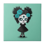 Shy Day of the Dead Girl with Big Eyes Blue Small Square Tile