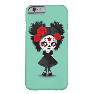 Shy Day of the Dead Girl with Big Eyes Red Barely There iPhone 6 Case