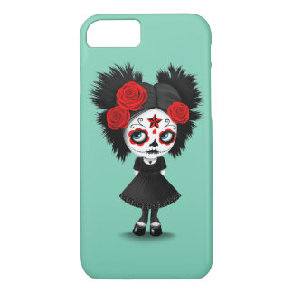 Shy Day of the Dead Girl with Big Eyes Red iPhone 8/7 Case