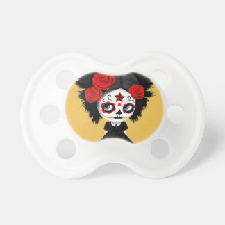 Shy Day of the Dead Girl with Big Eyes Red BooginHead Pacifier
