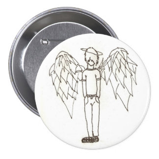 Shy Emo Angel 3 Inch Round Button