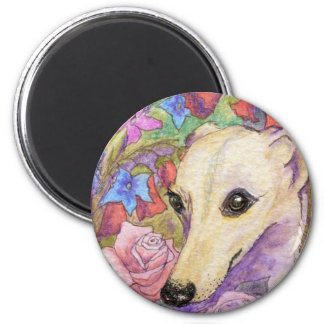 Shy Flower Whippet 2 Inch Round Magnet