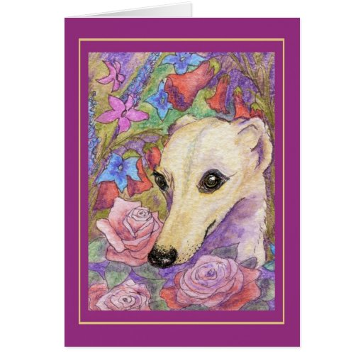Shy Flower Whippet Greeting Cards