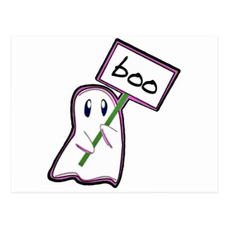 """Shy ghost holding """"Boo"""" -Sign (Pink Version) Postcard"""
