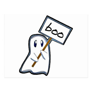 """Shy ghost with """"Boo"""" sign (Blue Version) Postcard"""