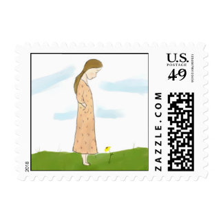 Shy Girl and Yellow Flower Postage
