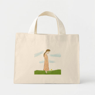 Shy Girl and Yellow Flower Tote Bag