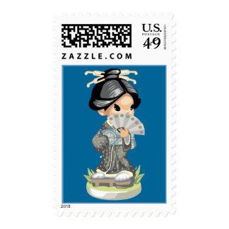 Shy Girl Postage Stamp