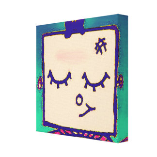 Shy Girl Robot Wrapped Canvas