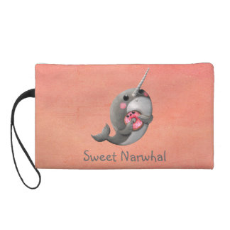 Shy Narwhal with Donut Wristlet Purses