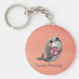 Shy Narwhal with Donut Basic Round Button Keychain