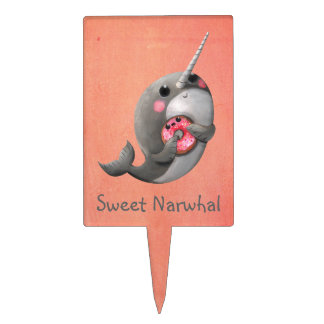 Shy Narwhal with Donut Cake Topper