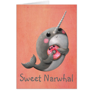 Shy Narwhal with Donut Card