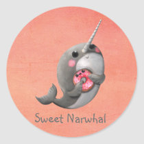 Shy Narwhal with Donut Classic Round Sticker