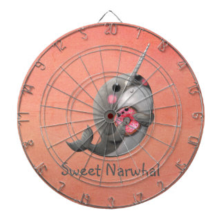 Shy Narwhal with Donut Dartboard With Darts