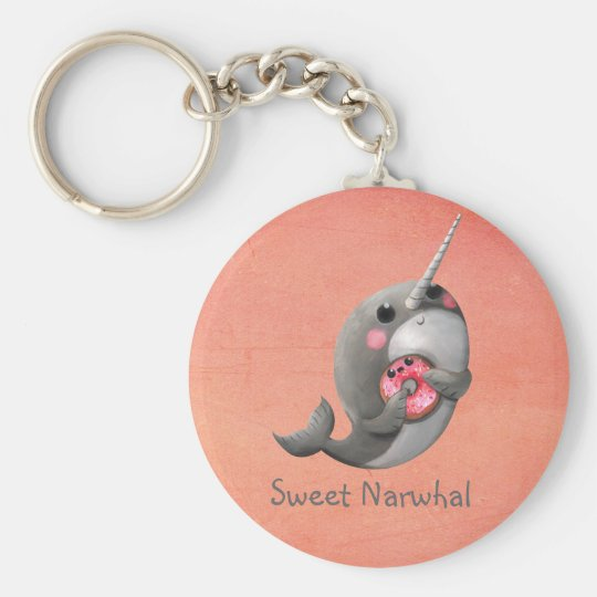 Shy Narwhal with Donut Keychain
