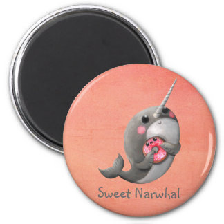 Shy Narwhal with Donut Fridge Magnets
