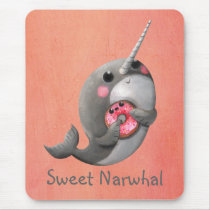 Shy Narwhal with Donut Mouse Pad