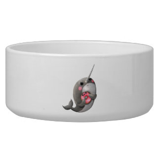 Shy Narwhal with Donut Dog Food Bowls