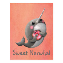 Shy Narwhal with Donut Postcard