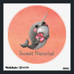 """Shy Narwhal with Donut Wall Sticker<br><div class=""""desc"""">Narwhal – Donut Lover. This is cute sweet narwhal. Little bit shy ( you can notice its blushed cheeks). It seems to be caught during eating its beloved donut. Donut seems happy tough – adorable kawaii donut. Narwhals are the best sea mammals ever, and all narwhal lovers can agree with...</div>"""