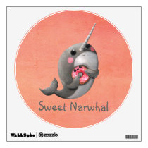 Shy Narwhal with Donut Wall Sticker
