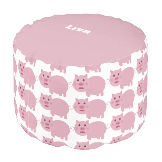 Shy Pig Personalized Round Pouf