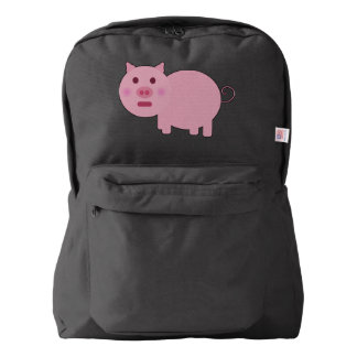 Shy Pink Pig American Backpack