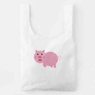 Shy Pink Pig Baggu Reusable Bag