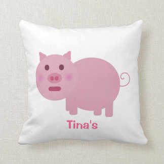 Shy Pink Pig Personalized Decor Pillow