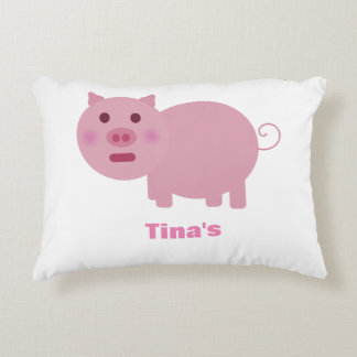 Shy Pink Pig Personalized Pillow Accent Pillow