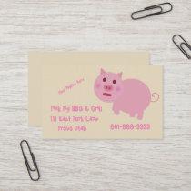 Shy Pink Pig Pork Restaurant Food Truck Template Business Card