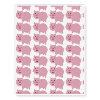 Shy Pink Pig Temporary Tattoo Sheet