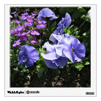 Shy Purple Pansies Square Wall Decal