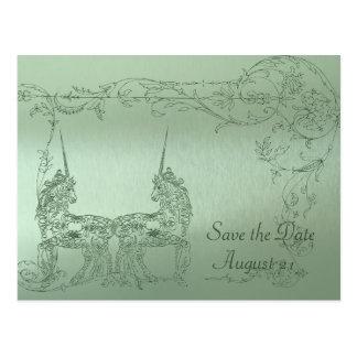 Shy Unicorn Green Metallic Save the Date Postcard