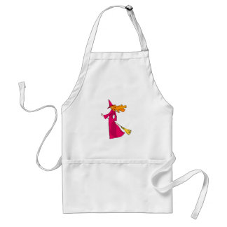 Shy Young Witch in Pink Aprons