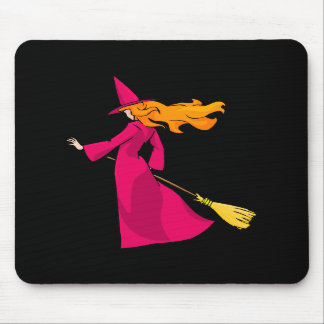 Shy Young Witch in Pink Mousepads