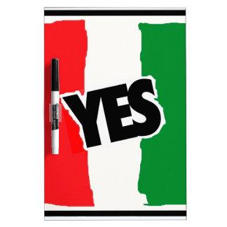 Sí a los italianos pizarra blanca