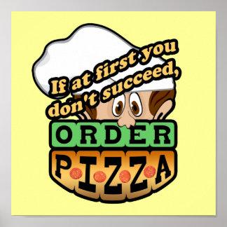 Si al principio usted no tenga éxito la pizza de l póster