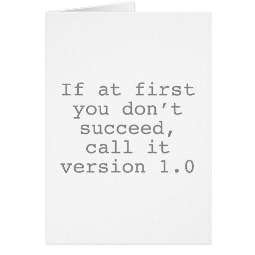 Si al principio usted no tenga éxito, llámelo la v tarjeton