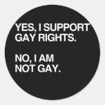 SÍ, APOYO LOS DERECHOS DE LOS HOMOSEXUALES ETIQUETAS REDONDAS