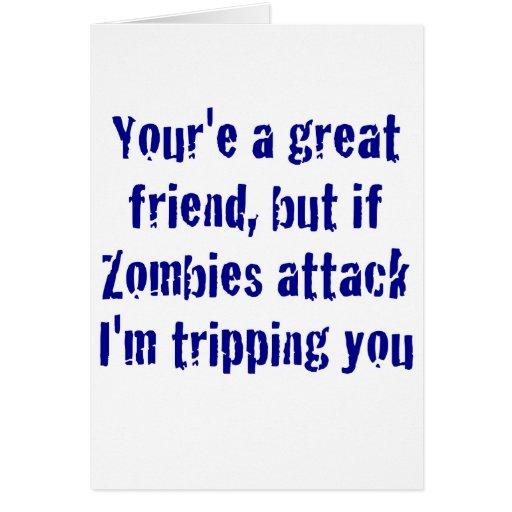 Si ataque Im de los zombis que le dispara Tarjeta De Felicitación