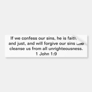 Si confesamos nuestro 1:9 de Juan de los pecados 1 Pegatina Para Auto