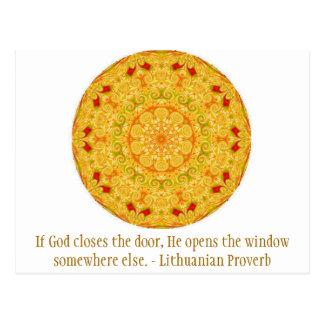 Si dios cierra la puerta, él abre la ventana ..... tarjeta postal