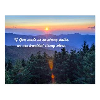 Si dios nos envía en las trayectorias fuertes, postal