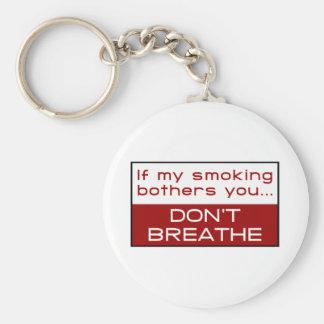 Si el mi fumar molesta usted… no respira llavero redondo tipo pin