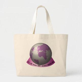 Sí, el mundo gira alrededor de mí bolsa tela grande