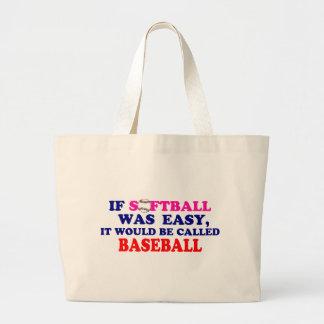 Si el softball era fácil…. bolsa lienzo