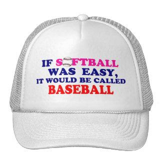 Si el softball era fácil…. gorros bordados