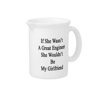 Si ella no fuera gran ingeniero ella no sería mi jarras para bebida